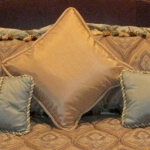 Custom Pillows in Gold & Seafoam