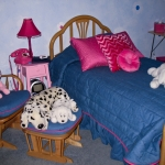 Twin bedding and Chair Covers in Denim and Hot Pink