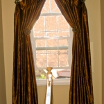 Medallion Top Curtains over Stairs