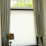 Bishop Sleeve Curtains over Hunter Douglas Shades
