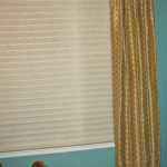 Silk Embroidered Curtains over Hunter Douglas Silhouette