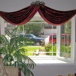 Scarlet & Gold Silk Swags Over Bay Window