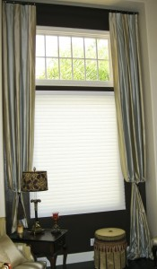 Custom Curtain Panels over Hunter Douglas Shade