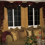 Embroidered Faux Silk Swags over Curtain Panels