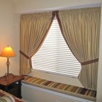 Short Tie Back Drapes over Window Seat