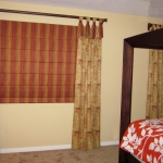Tab Top Curtains over Roman Shade