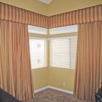 Traversing drapes under Corner Cornice Box