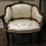 Reupholstered Victorian chair in Toile Fabric